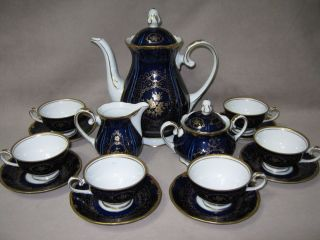 Germany Echt Kobalt Cobalt Blue & Gilt Espresso Demitasse Coffee Set
