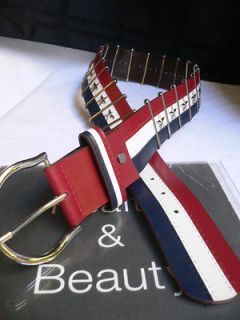 NEW WOMEN MEN JEANS BELT BLUE WHITE RED SILVER METALS AMERICAN FLAG 33