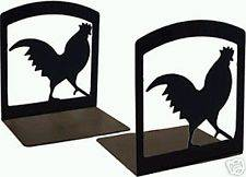Rooster Design Bookends, pair of strudy metal book ends