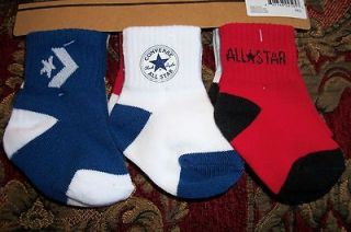 Converse All Star Baby Boy Infant Toddler 6 Pair Pack Socks Size 12 24