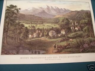 Currier & Ives Print   Mount Washington and the White Mountains