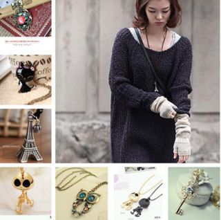Style Choose Long Retro Crystal Charm Pendant Vintage Girls Necklace