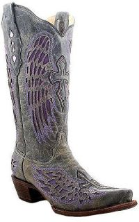 Vintage Black & Purple Leather Corral Angel Wing & Cross Boots