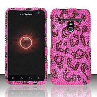 Esteem VS910 Hard Case Snap Black Phone Cover Pink Leopard Bling Z