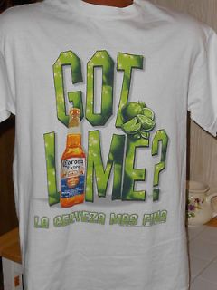 CORONA EXTRA,LA CERVEZA MAS FINA,GOT LIME,OFFICIAL,SIZE MEDIUM T SHIRT