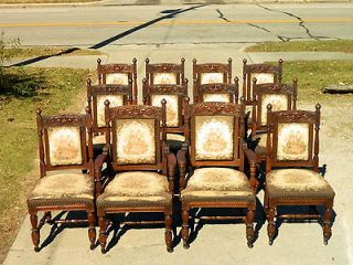 Victorian Tiger Oak North Wind Highly Carved Dining Chairs circa 1880