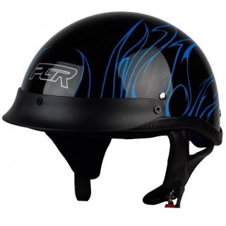 PGR B31 CONVICT BLACK BLUE Motorcycle DOT APPROVED Half Helmet Chopper
