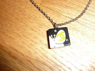 CHANEL Spring 07 CC Logo White Butterfly Crystal Charm Necklace NIB