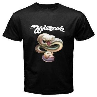 WHITE SNAKE WHITESNAKE Trouble Heavy Metal Rock Band Black T Shirt