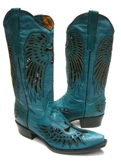 LADIES TURQUOISE LEATHER WESTERN COWBOY BOOTS WITH WINGS & CROSS