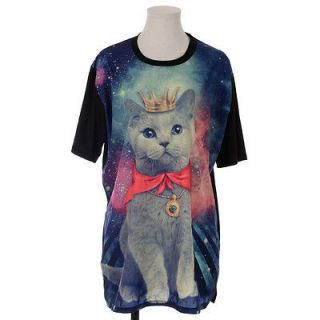 King Cat Loose Fit Long T shirt Red   Graphic Womens Tops Tees Unisex