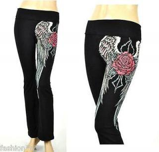 CRYSTAL ROSE ANGEL WINGS TATTOO BLACK YOGA PANTS LEGGINGS S & ED HARDY