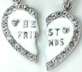 New BEST FRIEND Heart White 2 Pendants 2 Necklaces Fast Ship From USA