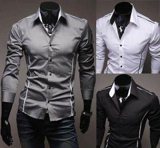 New Men Luxury Casual Slim Fit Stylish Dress Shirts 3 Colors 4 Size