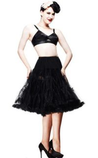 Hell Bunny Long Black Petticoat Pettiskirt Tutu Rockabilly 50s