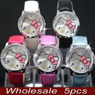 Wholesale 5pcs Hello Kitty Crystal Wrist Watch Clock Lot of gift LK13