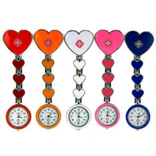 5pcs Lovely Smile Face Cross Nurse Pocket Pendant Quartz Watch