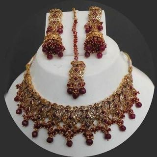 INDIAN POLKI GOLD FINISH PINK CZ BRIDAL JEWELRY NECKLACE SET fn20
