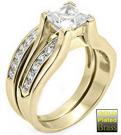 Princess Cut Stone Wedding Band Yellow Gold Plated Ring Set
