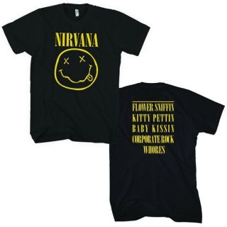 NIRVANA Smile T shirt Kurt Cobain Dave Grohl Smiley Face Tee Adult M,L