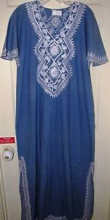 WOMENS BLUE W/ WHITE STITCHING FULL LENGTH ETHNIC ROBE SLEEPWEAR