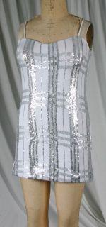 BY DEBRA 102SQN276 PRE TEEN AND GIRLS WHITE/SILVER SEQUIN SLIP DRESS