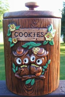 Vintage TREASURE CRAFT Ceramic Owls Cookie Jar HAWAII 1960s Made In