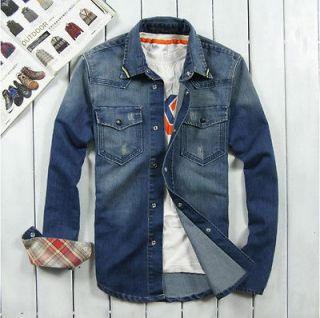 New men denim jacket denim shirt long sleeved shirt casual menswear