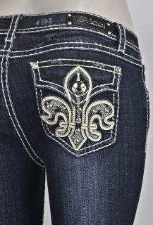LA Idol Bootcut Jeans Plus Size SZ 15 19 W Fleur De Lis Stud Design