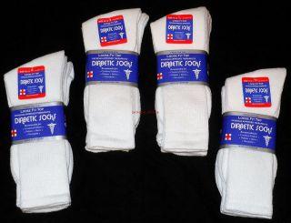 Lot Of 6 Pair White Diabetic Socks Crew Style, MEN Size 10 13 NEW