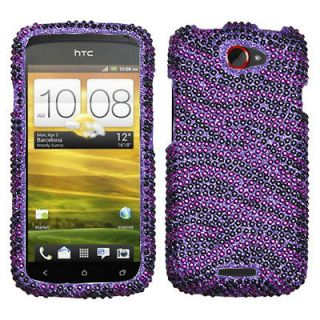 HTC One S Case Cover Bling Rhinestones Zebra Skin Purple/Black Diamond