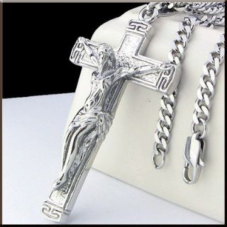 COOL JESUS CROSS Pendant Stainless Steel Necklace 22 4 mm CURB CHAIN