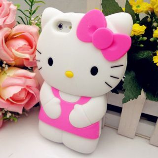 3D Pink Hello Kitty Cute TPU Soft Silicone Back Case Cover Skin for