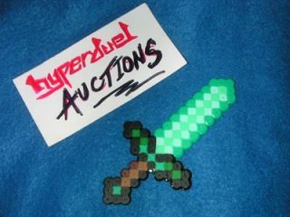 MINECRAFT DIAMOND SWORD V2 BEAD PENDANT NECKLACE MAGNET PIN BUTTON