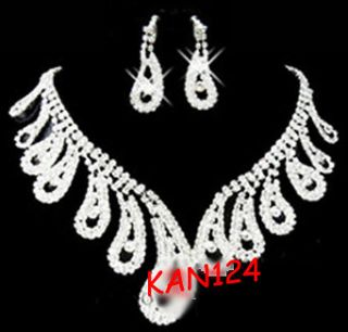 BRIDAL WEDDING BLING CRYSTAL WATER DROP JEWELRY NECKLACE EARRING SET