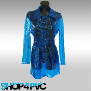 Womens Blue Waterproof PVC Raincoat Plastic Fashion Jacket With Belt