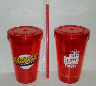 Bang Theory Bazinga and Name Logo 16 oz Acrylic Travel Cup, NEW UNUSED