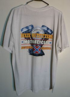 VINTAGE DIXIE OUTFITTERS MOTORCYCLE T SHIRT,NICE COND,SIZE L,WHITE,GRT