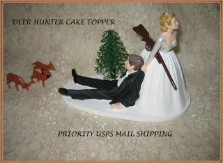 HUMOROUS WEDDING BUCK DOE DEER HUNTER HUNTING CAKE TOPPER