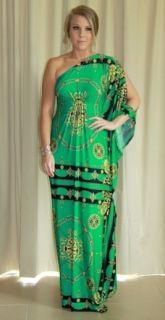 New Donatella Emerald Green Maxi Dress, Long Kaftan Formal Size 6 24