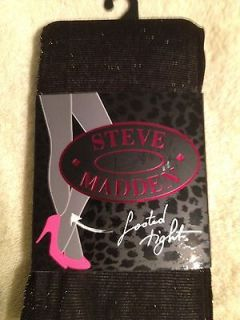 NEW with tags STEVE MADDEN Black Silver Metallic Footed Tights Size