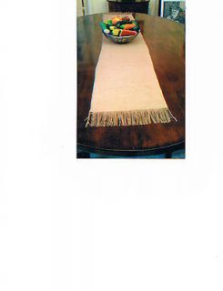 Burlap Table Runner With Fringe, Rustic 13 x 72 in Natural or Cream