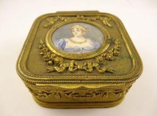 19c Bronze Dore Miniature Portrait Painting Empress Josephine Cameo