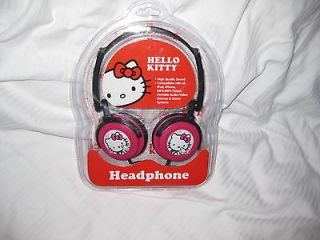 HELLO KITTY hot pink/blk new sealed DJ STYLE headphones BASS EARPHONES