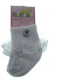 Baby Girls lace socks white ivory gold flower soft touch newborn to 18