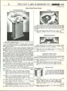 1948 49 AD Boice Crane Power Tools Spindle Shaper Belt Drum Sander