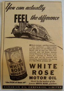 1940 WHITE ROSE MOTOR OIL CAN GASOLINES CANADA AD