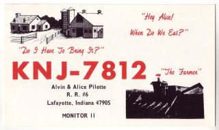 Qsl cb radio card indiana in lafayette farm tractor alvin amp alice