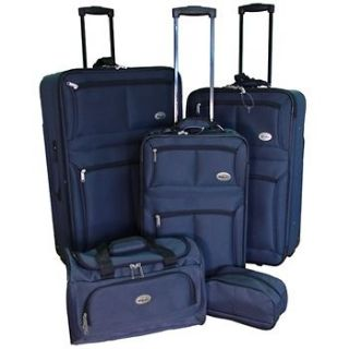 NEW CONFIDENCE 5 PIECE NAVY EXPANDABLE LUGGAGE SET WHEELED SUITCASES