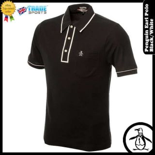 PENGUIN MENS EARL POLO SHIRT BLACK/WHITE BNWT S M L XL